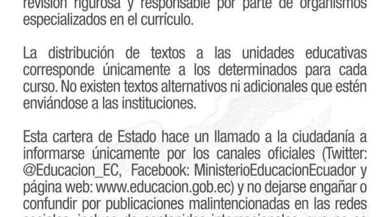 Min. de Educación aclara que NO hay nueva distribución de libros
