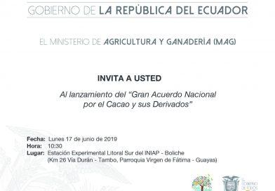 """INVITACIÓN AL """"GRAN ACUERDO NACIONAL POR EL CACAO Y SUS DERIVADOS"""""""