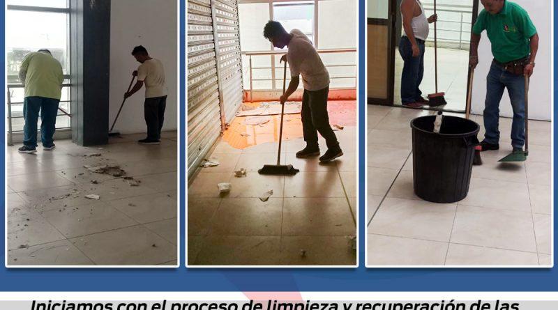 SE INICIARON TRABAJOS DE LIMPIEZA EN EL EDIFICIO DEL MERCADO CENTRAL Y EL REGRESO DEL AGUA EN VARIOS SECTORES DE LA CIUDAD