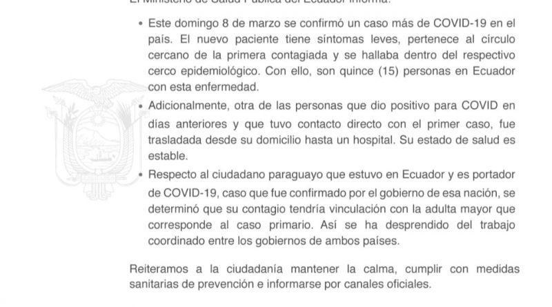 15 CONTAGIADOS DE COVID19
