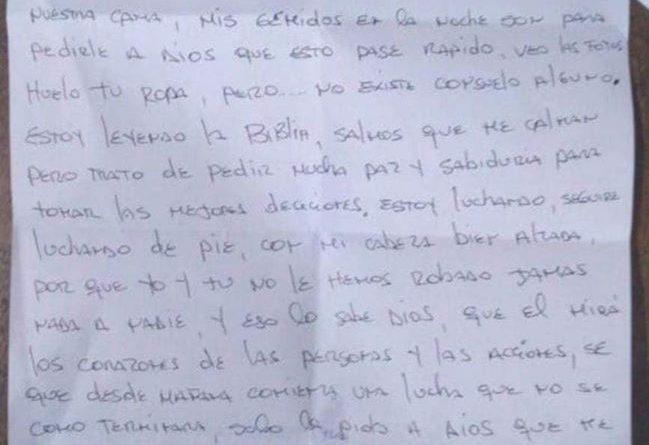 ÚLTIMA CARTA DE CARLOS LUIS MORALES A SU ESPOSA