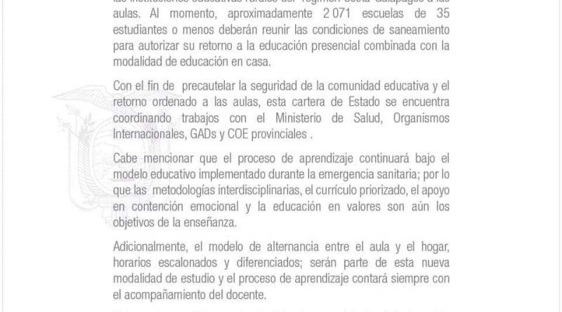 APERTURA DE ESCUELAS ES OPCIONAL
