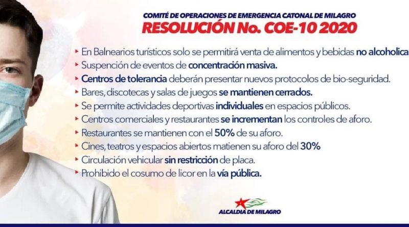 NUEVA RESOLUCION DEL COE CANTONAL DE MILAGRO