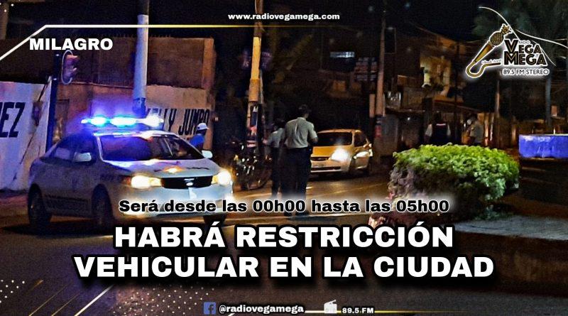 HABRÁ RESTRICCIÓN VEHICULAR DENTRO DE LA CIUDAD
