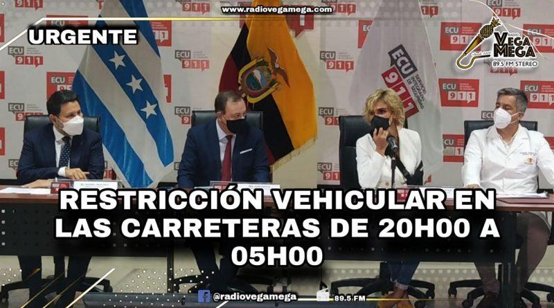 COE NACIONA Y CANTONAL ANUNCIAN PROHIBICION DE CIRCULACION DE VEHICULOS PARTICULARES DE 20:00 A 05:00 EN CARRETERAS DE ECUADOR