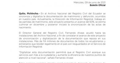 DIRECTOR GENERAL DEL REGISTRO CIVIL VERIFICA AVANCE DEL PROYECTO DE DIGITALIZACIÓN DEL ARCHIVO NACIONAL