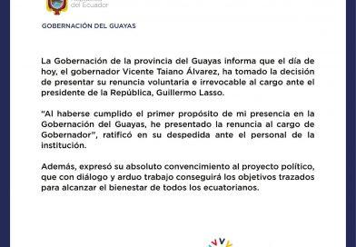 RENUNCIÓ EL GOBERNADOR VICENTE TAIANO